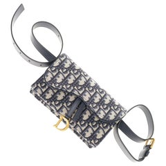 Gorgeous NEW Christian Dior Saddle belt bag in blue jacquard fabric and GHW