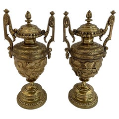 Gorgeous Ornate Pair of Revival Style Cast Brass Relief Lidded Urns