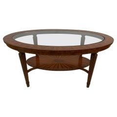 Gorgeous Oval Mixed Inlaid Wood & Glass Coffee Table