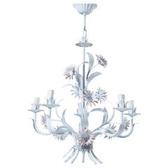 Gorgeous Painted Italian Chandelier with Flower Decor