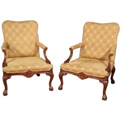 Pair of English Carved Walnut Georgian Style Lounge Arm Parlor Chairs