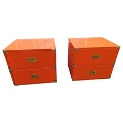 Gorgeous Pair Gloss Orange Lacquer Campaign Chest Night Stands Dixie Campaigner