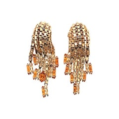 Gorgeous Pair of Citrine and Gold Earrings
