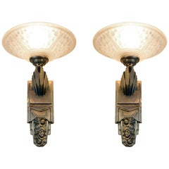Gorgeous Pair of French Art Deco Sconces Signed Muller Frères Luneville