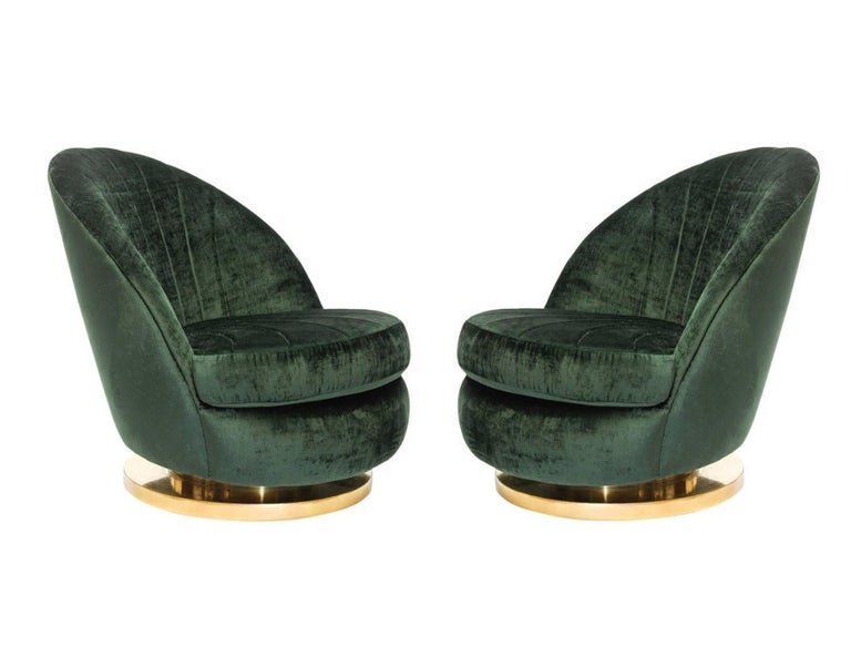 American Gorgeous Pair of Green Milo Baughman Tilt and Swivel Lounge Brass Chairs For Sale