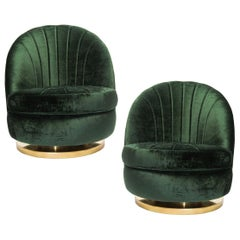 Gorgeous Pair of Green Milo Baughman Tilt and Swivel Lounge Brass Chairs