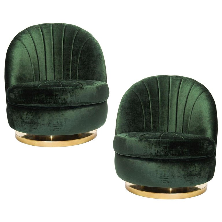 Gorgeous Pair of Green Milo Baughman Tilt and Swivel Lounge Brass Chairs For Sale