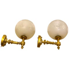 Gorgeous Pair of High Victorian Brass and Engraved Glass Gas Wall Sconces