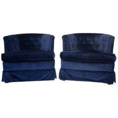 Gorgeous Pair of Luxe Navy Fully Upholstered Club Armchairs
