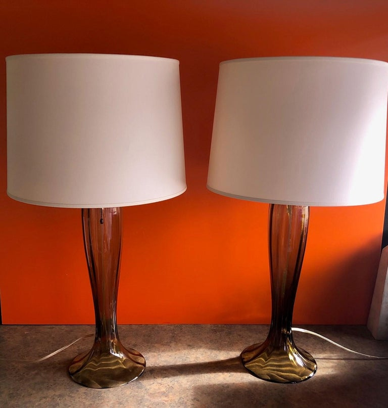 Gorgeous Pair of Murano Art Glass Trumpet Lamps 4