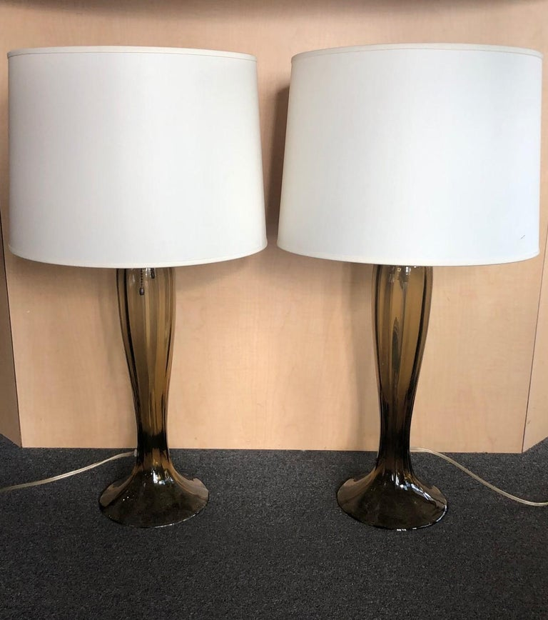 Mid-Century Modern Gorgeous Pair of Murano Art Glass Trumpet Lamps