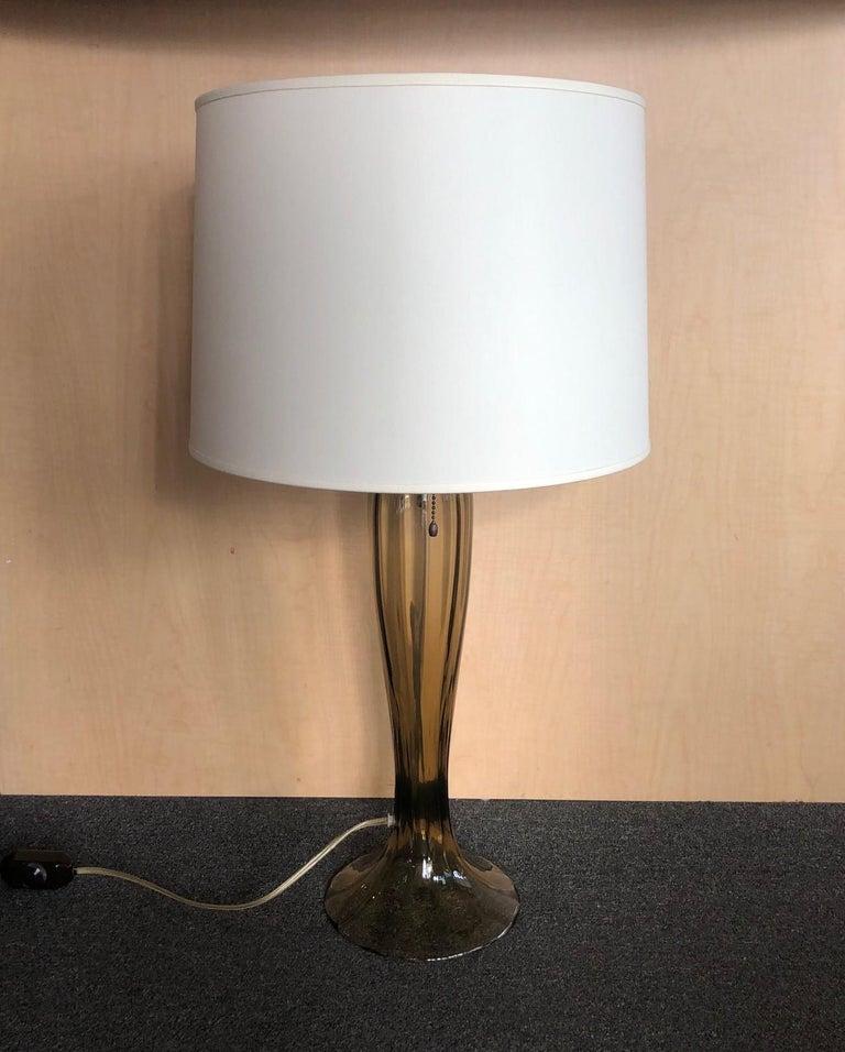 Italian Gorgeous Pair of Murano Art Glass Trumpet Lamps