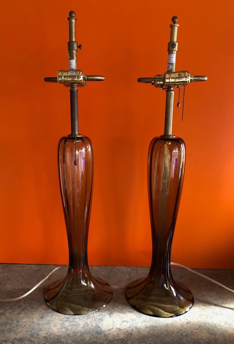 Gorgeous Pair of Murano Art Glass Trumpet Lamps In Good Condition In San Diego, CA