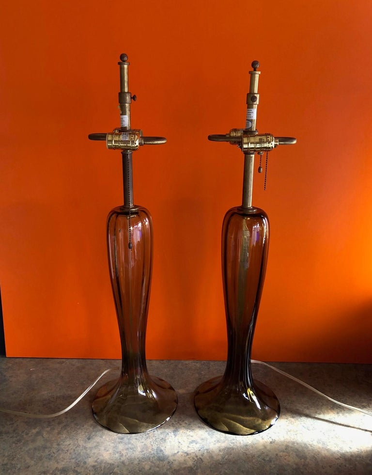 20th Century Gorgeous Pair of Murano Art Glass Trumpet Lamps