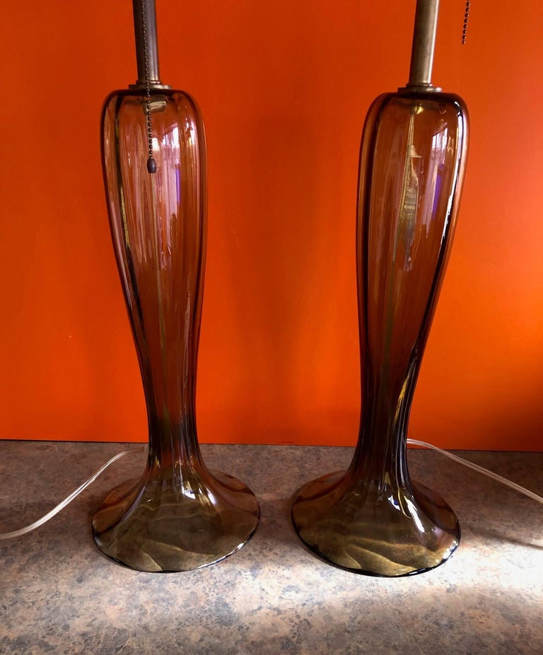 Gorgeous Pair of Murano Art Glass Trumpet Lamps 1