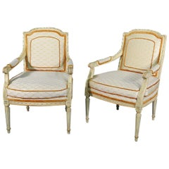 Gorgeous Pair of Painted 1920s Era French Louis XVI Fauteuil Open Armchairs