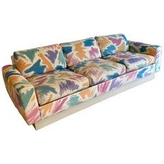 Gorgeous Pair of Pastel Brushstroke Platform Sofas