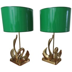 Gorgeous Pair Solid Brass Mid-Century Modern Stylized Swan Lamps