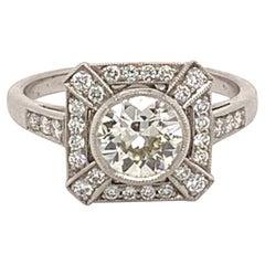 Gorgeous Platinum 0.81 Carat Center Round Diamond Ring
