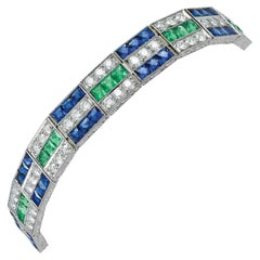 Gorgeous Platinum 10.82 Carat Sapphire, Emerald, and Diamond Bracelet