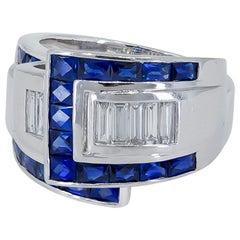 Gorgeous Platinum 1.74 Carat Sapphire Diamond Ring