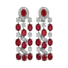 Gorgeous Platinum 17.83 Carat of Rubies and Diamond Hanging Earrings
