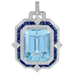 Gorgeous Platinum 24.38 Carat Center Aquamarine, Sapphire, and Diamond Pendant