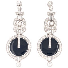 Gorgeous Platinum 2.46 Carat Diamond Onyx Earrings