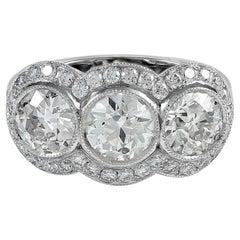 Gorgeous Platinum 3.27 Carat Three-Stone Ring