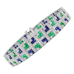 Gorgeous Platinum 4.58 Carat Sapphire, Emerald, and Diamond Bracelet