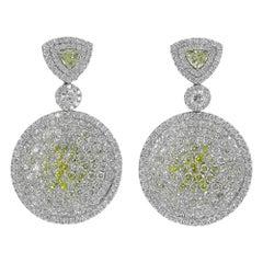 Gorgeous Platinum 9.41 Carat Yellow Diamond Earrings