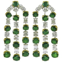 Gorgeous Platinum and 18 Karat Yellow Gold Diamond Emerald Chandelier Earrings