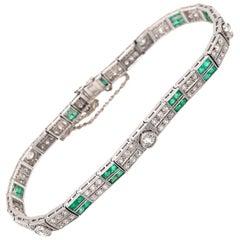 Gorgeous Platinum Art Deco Emerald and Diamond Bracelet