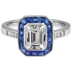 Gorgeous Platinum Diamond and Sapphire Ring