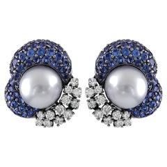 Gorgeous Platinum Pearl Sapphires Diamonds Earrings