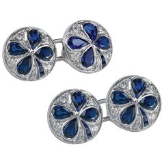 Gorgeous Platinum Set Cufflinks with Sapphires in a Clover Design and Diamonds