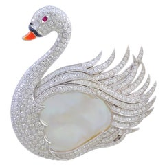 Gorgeous Platinum Swan Design Brooch with 4.60 Carat Diamonds, Ruby, and Coral
