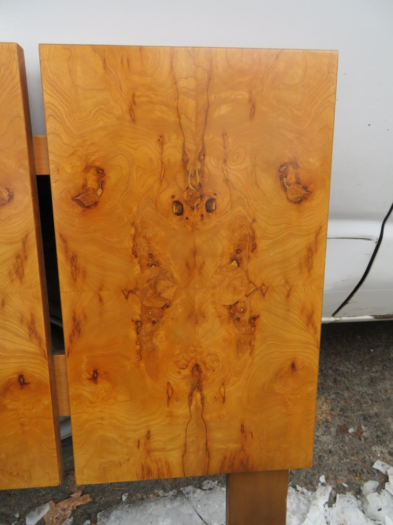 American Gorgeous Roland Carter for Lane Olive Wood Queen Size Headboard Midcentury For Sale