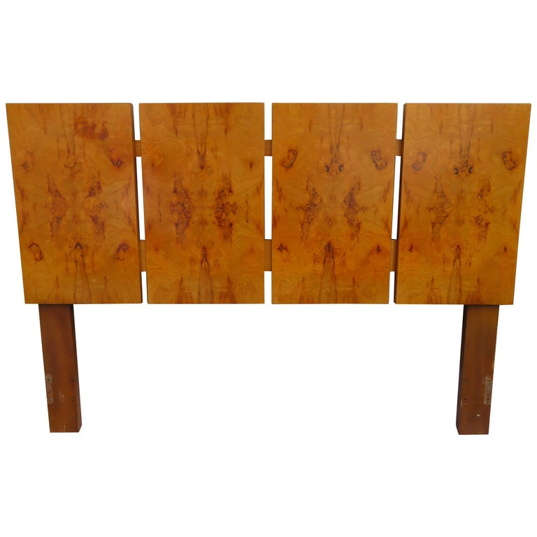Gorgeous Roland Carter for Lane Olive Wood Queen Size Headboard Midcentury For Sale