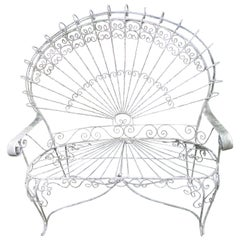 Gorgeous Salterini Style Wrought Iron Fan Back Peacock Patio Bench