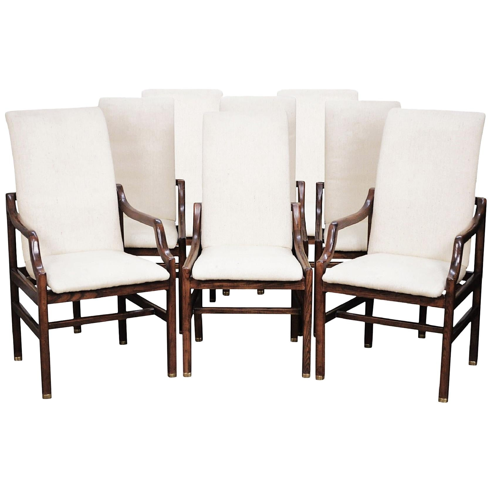 Gorgeous Set of Eight Vintage Henredon Dining Chairs in Walnut