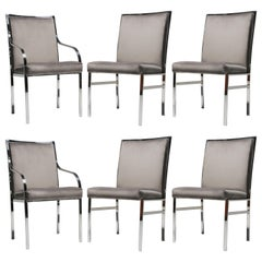 Gorgeous Set of Six Chrome and Beige Velvet Dining Chairs by Pierre Cardin