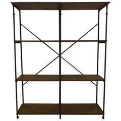 Gorgeous Slim Iron and Wooden Shelving Unit-France, 1900