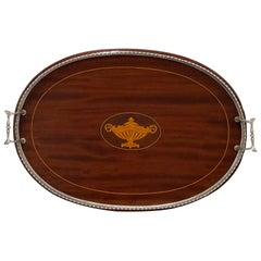 Gorgeous Sterling Silver Mounted & Mahogany Serving Tray
