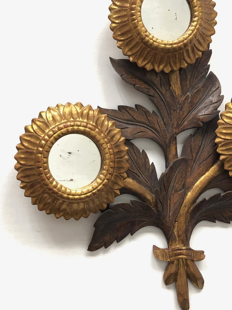 Gorgeous Sunflower Sunburst Gilded Wood Mirror, Toleware Tole Walldecoration In Good Condition For Sale In Nürnberg, DE