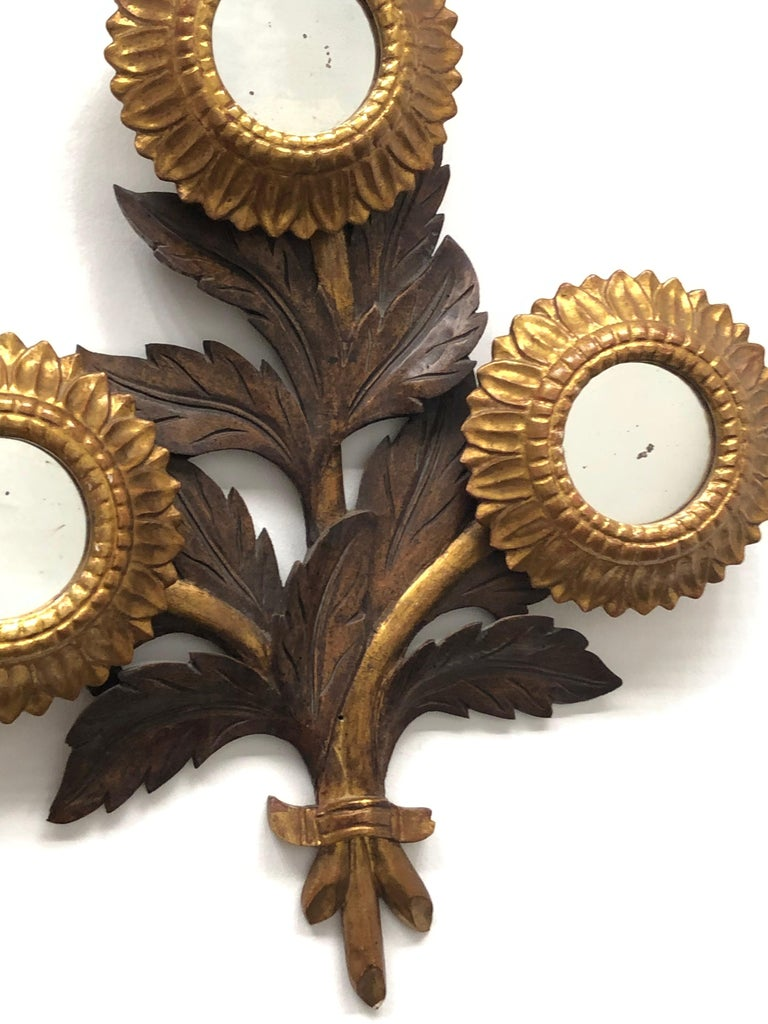 20th Century Gorgeous Sunflower Sunburst Gilded Wood Mirror, Toleware Tole Walldecoration For Sale