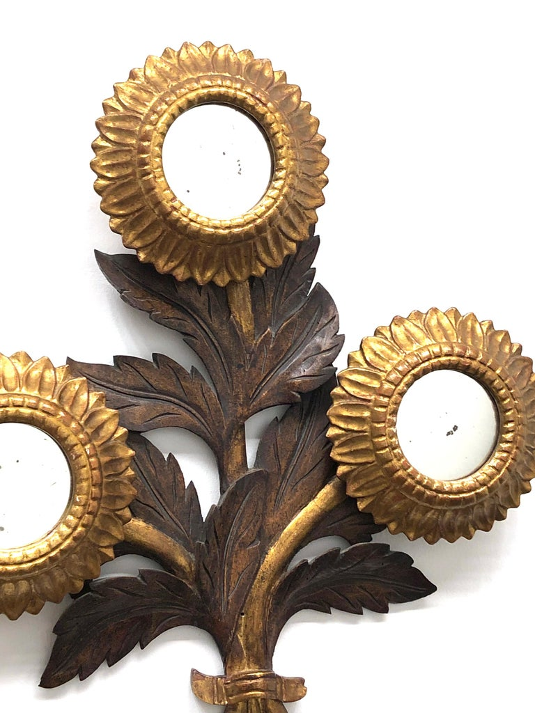 Gorgeous Sunflower Sunburst Gilded Wood Mirror, Toleware Tole Walldecoration For Sale 1