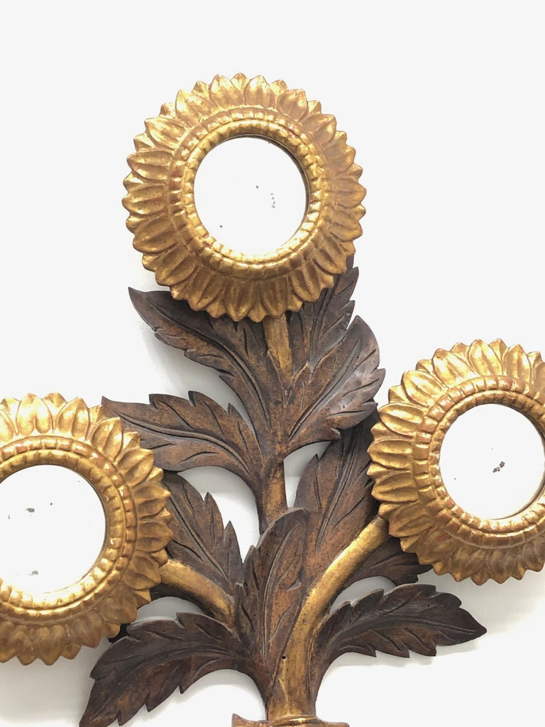 Gorgeous Sunflower Sunburst Gilded Wood Mirror, Toleware Tole Walldecoration For Sale 2