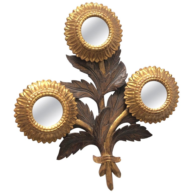 Gorgeous Sunflower Sunburst Gilded Wood Mirror, Toleware Tole Walldecoration For Sale