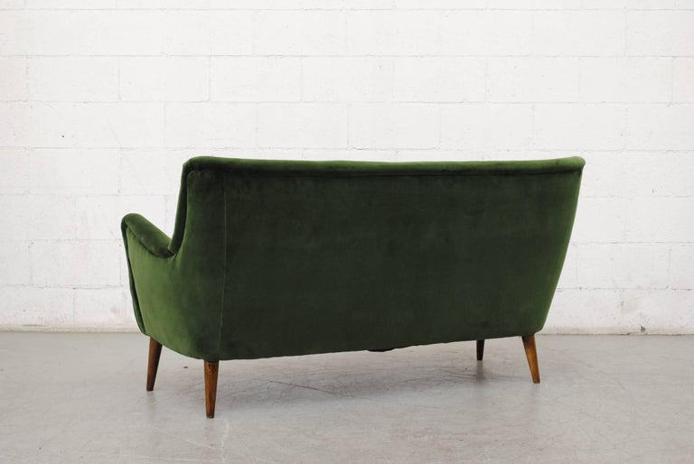 Mid-20th Century Gorgeous Theo Ruth Emerald Green Velvet Sofa For Sale